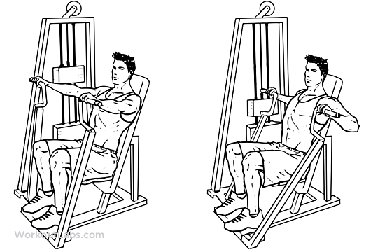 Man doing hammer strength chest press for chest muscle